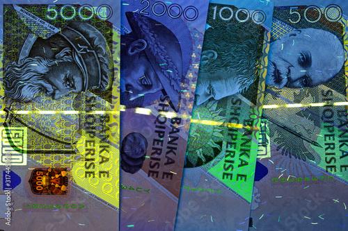 Fotografering  Albanian money - Lek in Uv rays