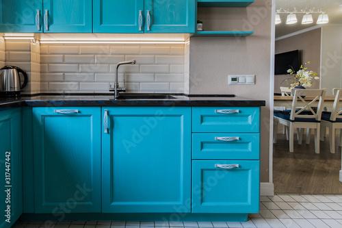 Photo Blue wooden kitchen ambient