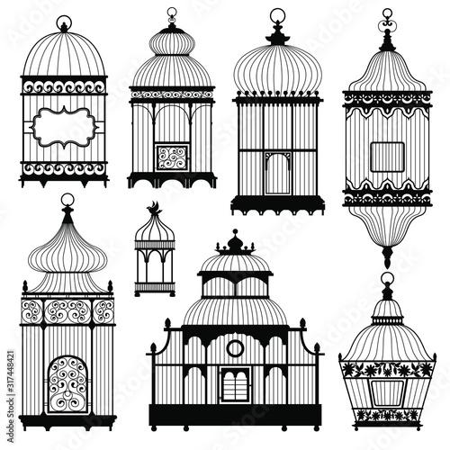 Obraz na plátně Silhouettes of a decorative vintage bird cages
