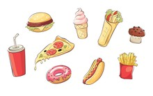 Collection Pictures -- Fastfood /  Set Vector Illustrations With Various Fast Food