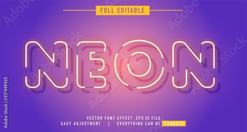 Cuadros en Lienzo neon text effect that can be edited easily, letters are bright and attractive, y