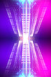 canvas print picture - Ultraviolet abstract light. Light element, light line. Violet and pink gradient. Modern background, neon light. Empty stage, spotlights, neon. Abstract futuristic neon background.