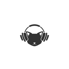 Black Cat's Head With Headphones Icon Isolated On White. Tough, Cool Tom Cat.