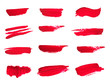 canvas print picture - Set of Lipstick smear smudge swatch isolated on white background - Image