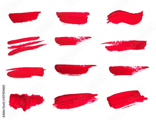 Set of Lipstick smear smudge swatch isolated on white background - Image Wall mural