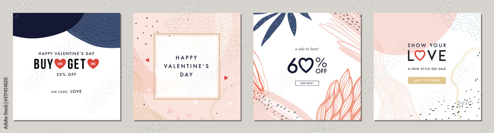 Fototapeta Happy Valentine's Day greeting cards. Trendy abstract square art templates. Suitable for social media posts, mobile apps, banners design and web/internet ads.