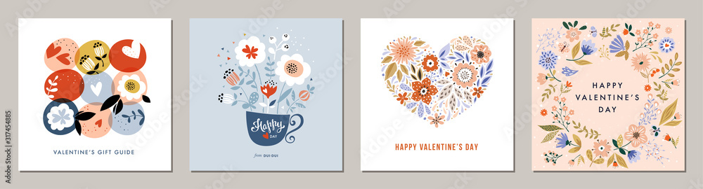 Fototapeta Happy Valentine's Day greeting cards. Floral square templates. Suitable for social media posts, mobile apps, banners design and web/internet ads.