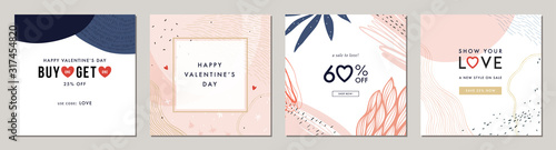 Happy Valentine's Day greeting cards. Trendy abstract square art templates. Suitable for social media posts, mobile apps, banners design and web/internet ads. - 317454820