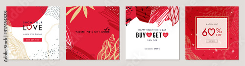 Happy Valentine's Day greeting cards. Trendy abstract square art templates. Suitable for social media posts, mobile apps, banners design and web/internet ads. Vector fashion backgrounds.