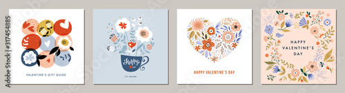 Obraz Happy Valentine's Day greeting cards. Floral square templates. Suitable for social media posts, mobile apps, banners design and web/internet ads.  - fototapety do salonu
