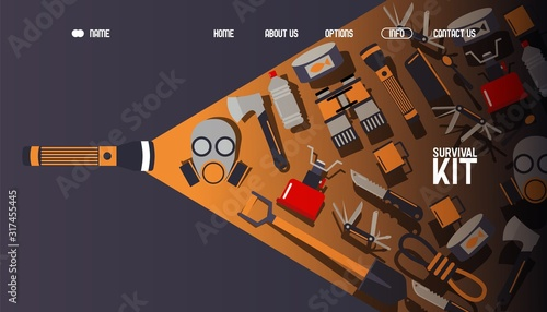 Fotografie, Obraz Survival kit inventory, website design, vector illustration