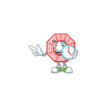 Cartoon Character Style Chinese Square Feng Sui Having Clock