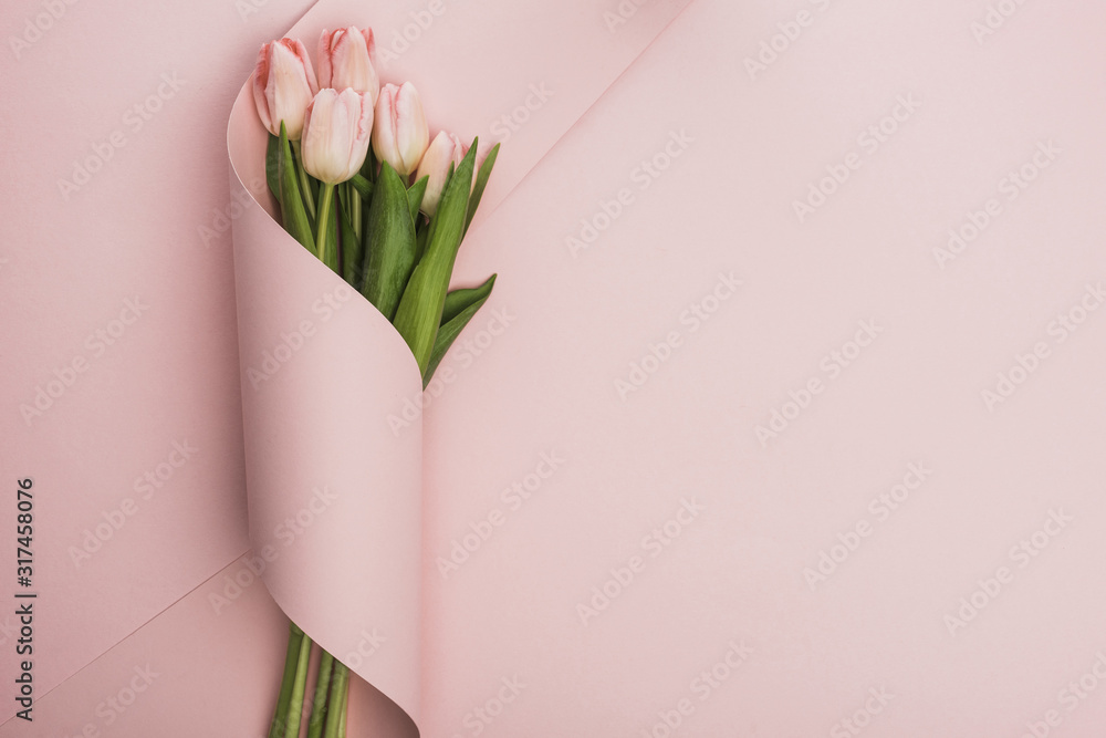 Fotografie, Obraz top view of tulip bouquet wrapped in paper swirl on pink background