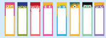 Cartoon Face Bookmarks In Different Color.