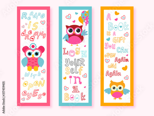 Printable Cartoon Owl Bookmarks with Messages in Three Color Option Wallpaper Mural