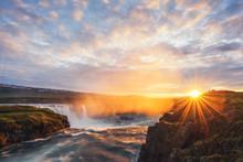Colorful Sunrise On Godafoss W...