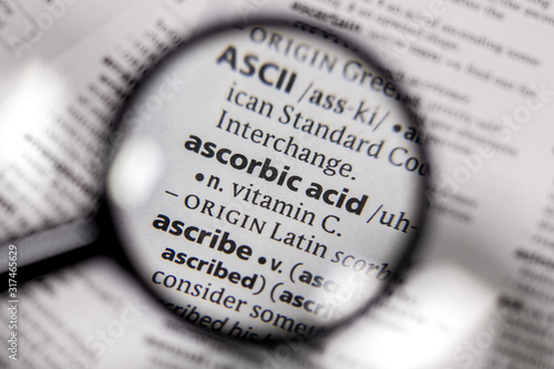 The word or phrase ascorbic acid in a dictionary. Canvas Print