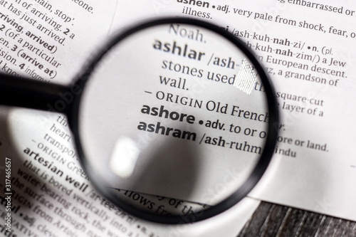 The word or phrase ashore in a dictionary. Wallpaper Mural