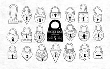 Set Of Doodle Vintage Locks On Old Paper Background. Vector Sketch Illustration.