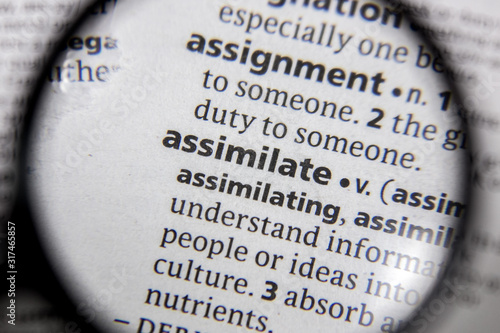 Photo The word or phrase assimilate in a dictionary.