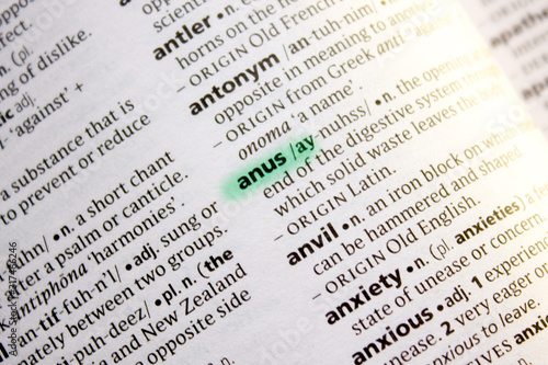 Photo Anus word or phrase in a dictionary.