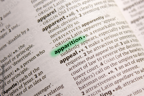 Apparition word or phrase in a dictionary. Canvas Print