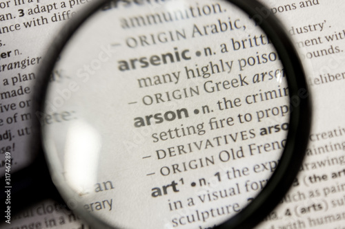 Arson word or phrase in a dictionary. Canvas Print