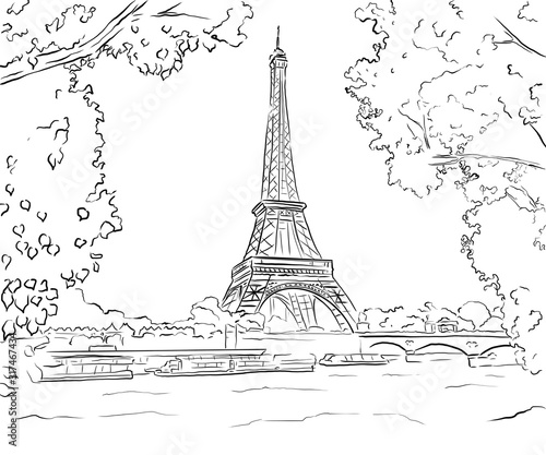 Fotografie, Obraz Eiffel tower in Paris (France) / vintage illustration from Meyers Konversations-
