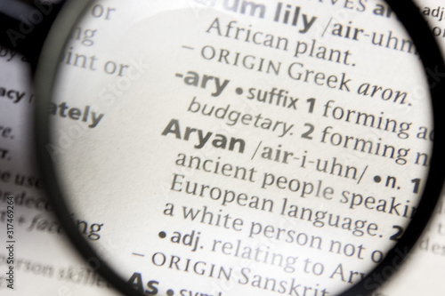 Photo Aryan word or phrase in a dictionary.