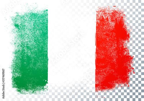 Vector Illustration Distortion Grunge Flag Of Italy Fotobehang