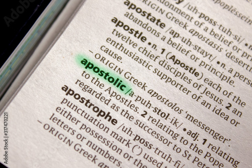 Photo Apostolic word or phrase in a dictionary.