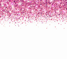 Pink Glitter Particles And Light Effect Sparks Isolated On White Background. Vector Glow Shimmer Confetti Texture For Luxury Card Design.