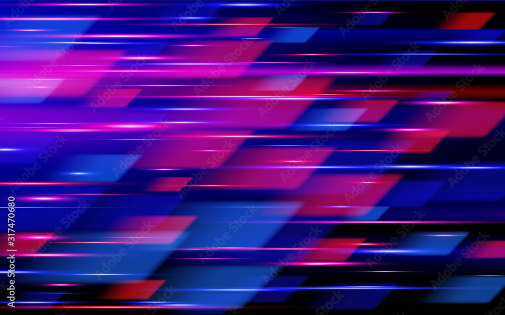 Fototapeta High speed. Hi-tech. Blue and red abstract technology background. Vector illustration