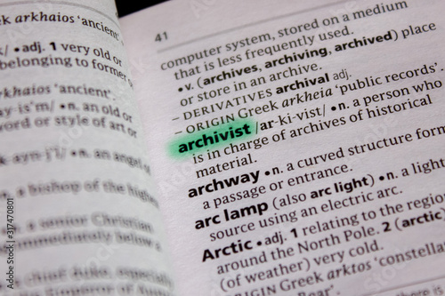 Photo Archivist word or phrase in a dictionary.