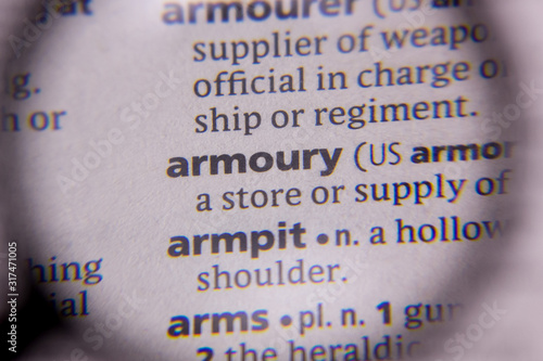 Armoury word or phrase in a dictionary. Wallpaper Mural