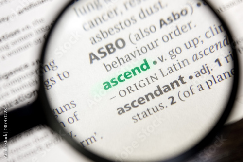 Ascend word or phrase in a dictionary. Canvas Print