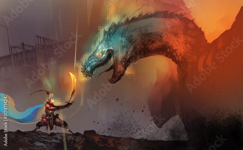 Fototapeta premium Cyfrowy styl malowania ilustracji pogromca smoków walczący z szefem smoka w grze wideo przeciwko ruinom miasta.