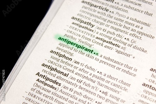 Photo Antiperspirant word or phrase in a dictionary.