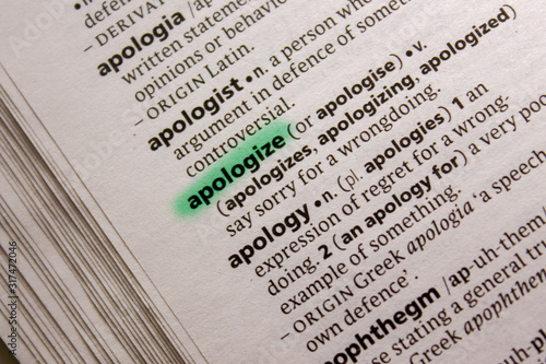 Apologize word or phrase in a dictionary. Canvas Print