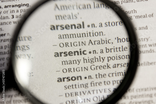 Arsenic word or phrase in a dictionary. Wallpaper Mural