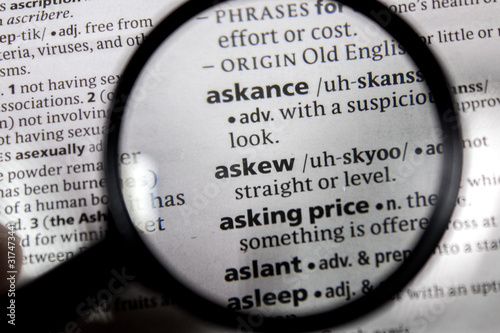 The word or phrase askew in a dictionary. Wallpaper Mural