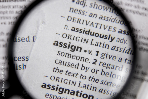 The word or phrase assign in a dictionary. Canvas Print