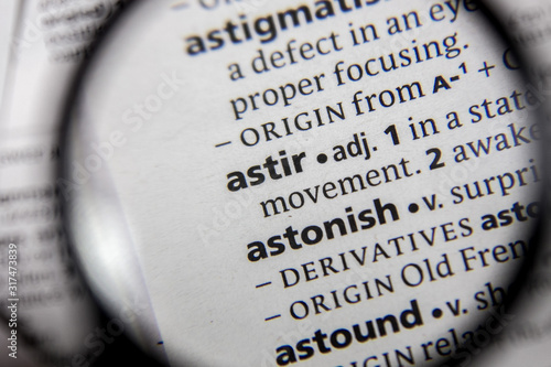 The word or phrase astir in a dictionary. Canvas Print