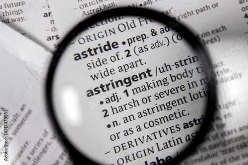 The word or phrase astringent in a dictionary. Canvas Print