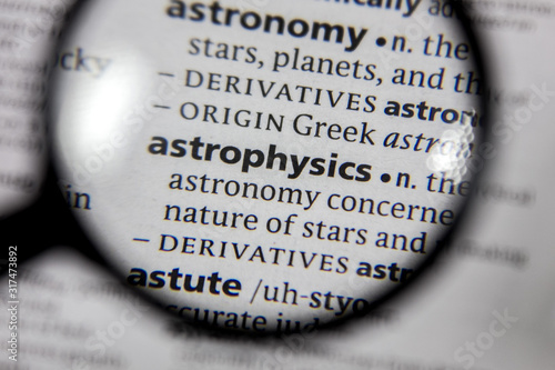 The word or phrase astrophysics in a dictionary. Canvas Print