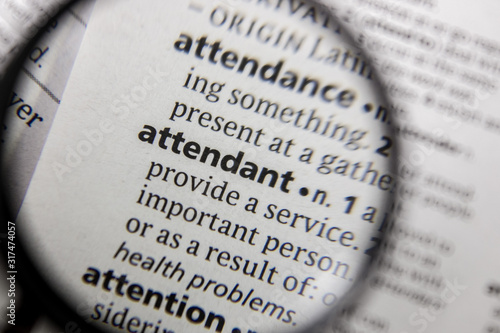 The word or phrase attendant in a dictionary. Wallpaper Mural