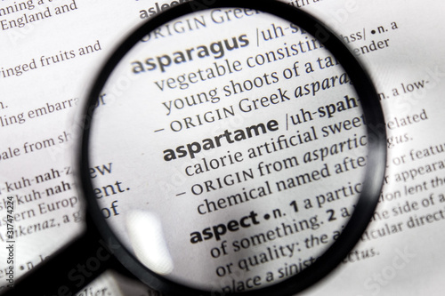The word or phrase aspartame in a dictionary. Wallpaper Mural