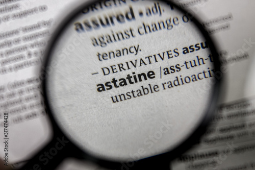 The word or phrase astatine in a dictionary. Canvas Print