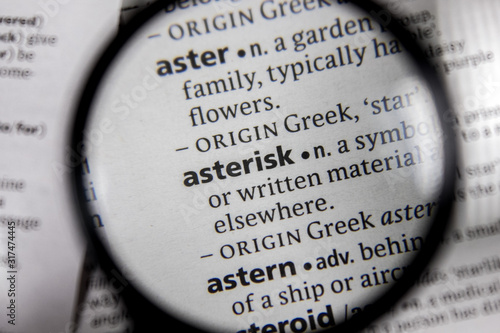 The word or phrase asterisk in a dictionary. Wallpaper Mural