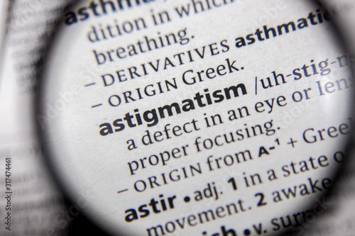 The word or phrase astigmatism in a dictionary. Canvas Print